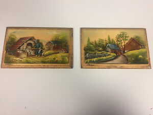 2 Rare Vintage 3D Wall Art Signed H Nadeau Canada Wood Painted