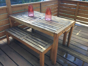 Wood patio set table and benches