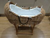 Mothercare moses baby basket and 2 stands