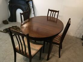 Extending wood dining table and 4 X chairs