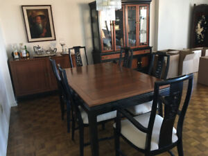 Asian Style Dining Room Set – Wood and Black Laquer