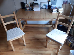 Solid Expandable Pine Desk & Two IKEA Chairs