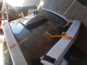 Ford mustang hood with gauges and hood pins