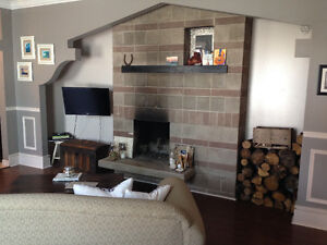 10 foot fireplace newly reno kitchen. large 1 bedroom apt