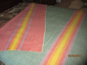 VINTAGE Hudson Bay type WOOL Blanket