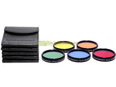 52mm. set 5 filtri colorati Blackdove-cameras. Rosso Arancione Giallo Verde Blu.