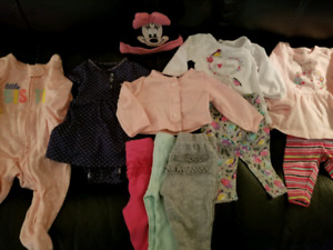 Newborn baby girl clothes, swaddles, diapers