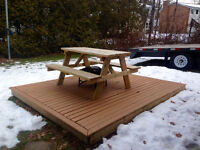 Deck, picnic table & fireplace