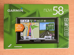 "Garmin nuvi 58LM  5"" Portable GPS with  Free Lifetime Maps."