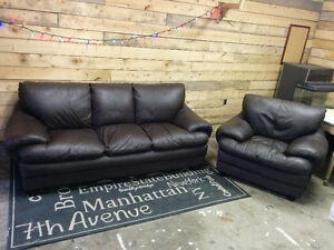 Real Leather Couch and Chair - Delivery