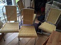 Wicker rattan metal dining kitchen chairs.