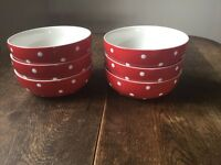 6 Baking Days Red Polka Dot bowls by Spode