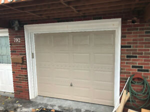Garage door and garage door opener.