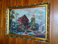 Beautiful Needlepoint Picture - Vintage Gold Frame