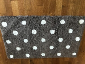 Pottery barn PB teen rug, brown with white dots, $75, 3x5