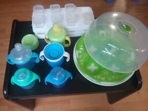 bottles, steam sterilizer, baby food cubes