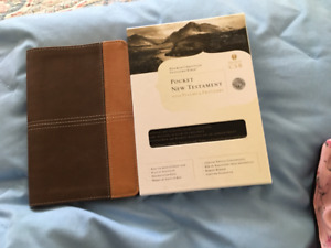 brown two toned leather new testament
