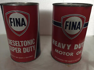 2 Fina Motor Oil Carboard Cans