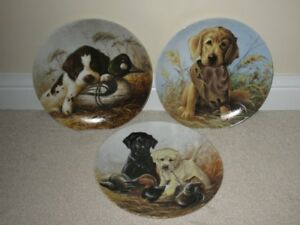 "3 Collector Plates in the ""Field Puppies"" Collection"