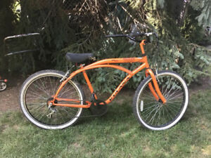 Kulana 7sp Moon Dog, orange cruiser, safe brakes, kick stand, go