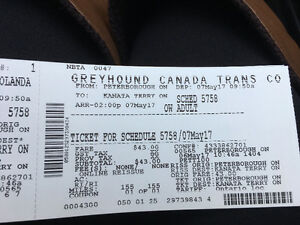 Greyhounds ticket from Peterborough to Ottawa