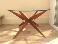 Hand Restored 60's Teak Glass Top Table