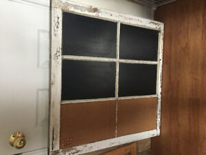 Barn window chalkboard/bulletin board