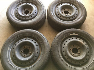 (4) x GOODYEAR ALL SEASON TIRES ON RIMS - 195/55/15