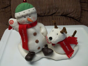 Christmas Musical Snowman And Puppy.