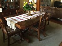 Antique 1923 walnut dining room table and chairs