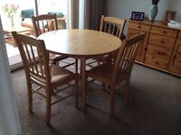 Lovely oak look dinning table and 4 chairs