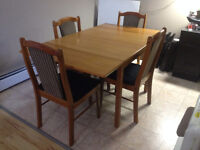 Genuine Teak table with four refurnished chairs - Whitecourt