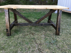 Hand crafted rustic truss style picnic table