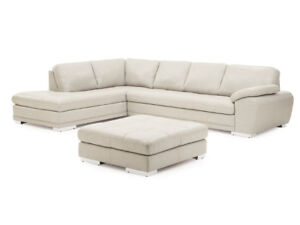 White Leather Sectional + Ottoman