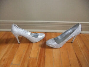 Grey sparkly high heel shoes