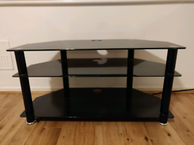 Black and chrome glass TV stand excellent condition