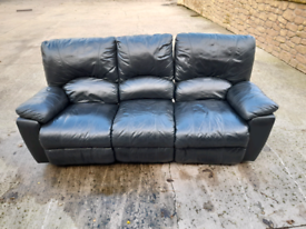 3 seater real leather reclining sofa