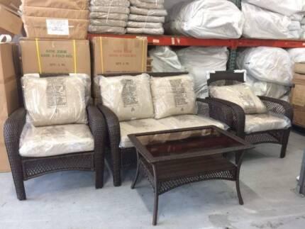 Comfortable Wicker Rattan Outdoor Set - 2 Single +1 Double Seat