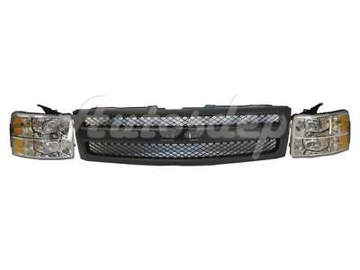 FOR 2007-2013 SILVERADO 1500 PICKUP GRILLE TEXTURED BLACK HEADLIGHT ASSY