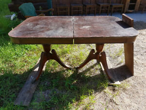 Antique dining room table and 5 chairs