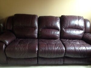 Reclining leather couch and chair