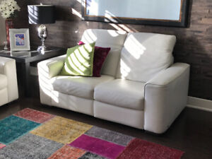 Causeuse Natuzzi cuir blanc inclinable