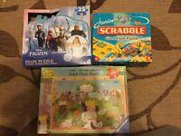 Kids puzzles, Frozen, Scrabble, Little Princess