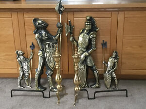 Medieval Knights & Fireplace Andirons - REDUCED