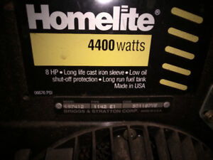 Homelite 8HP 4400W generator, low hours, tested-runs perfect