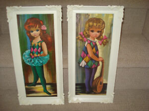1960's Moppet Series Big Eyed Litho Prints by Eden