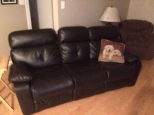Great quality Black Leather Reclining couch and 2 brown Chairs
