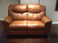 Caramel Leather Love Seat