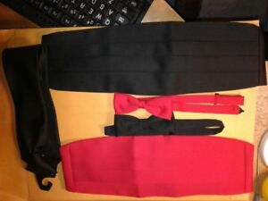 Black and Red sets of Cummerbund and Bow Tie and a Black clip on