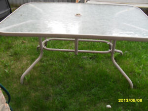 """Two Patio tables: 36"""" X 61"""" $30. and 44"""" X 84"""" $50."""